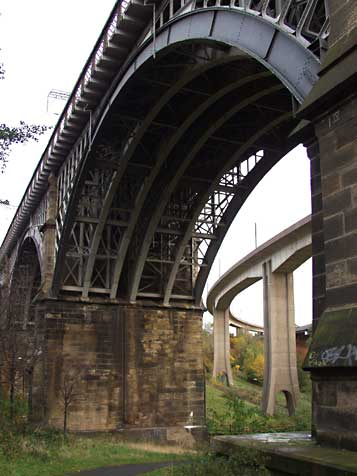 Byker rail, Meto and road bridges entwined