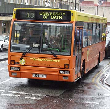 L136TFB Leyland Leopard leaves Bus Station